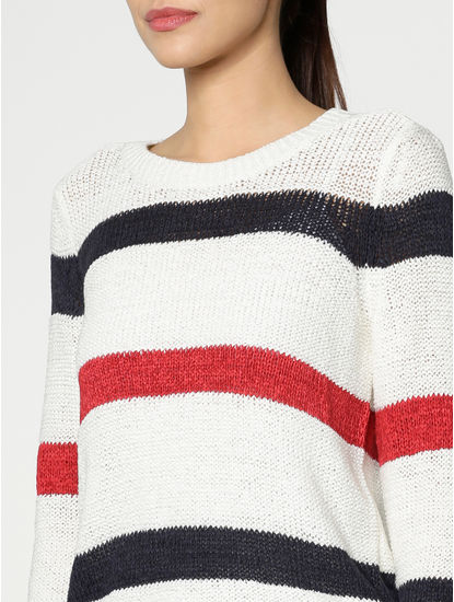 White Colour Blocked Pullover