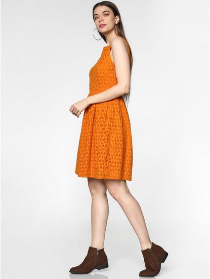 Orange Lace Fit & Flare Dress