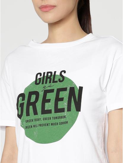 White Typographic Print T-Shirt