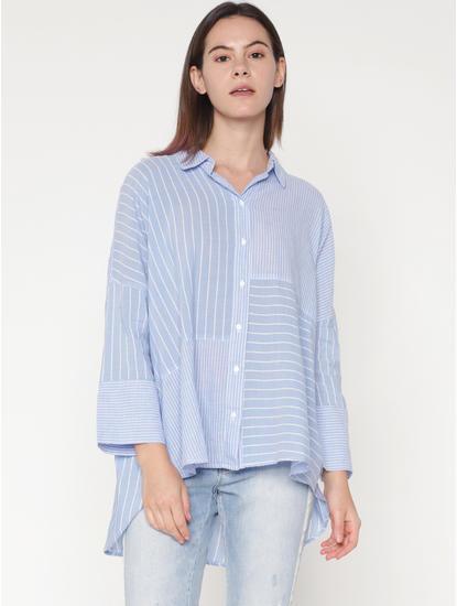 Light Blue Mix and Match Striped Print Shirt