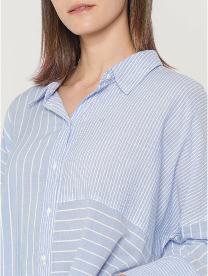 Light Blue Mix and Match Striped Print Shirt