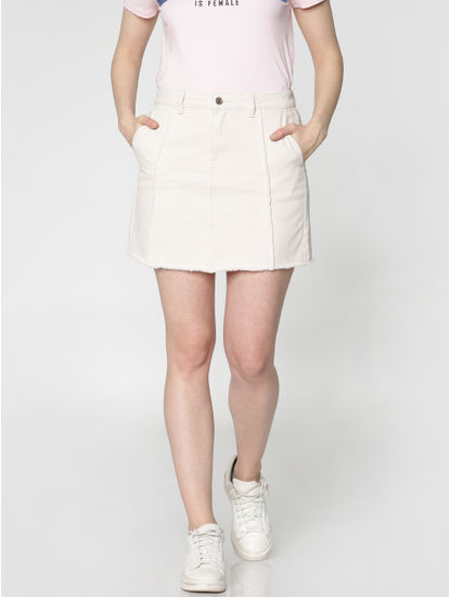 Off White Low Waist Raw Edge Denim Skirt