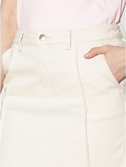 Off White Low Waist Raw Edge Denim Skirt
