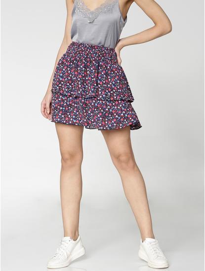 Black Low Rise Multicoloured Floral Print Layered Mini Skirt
