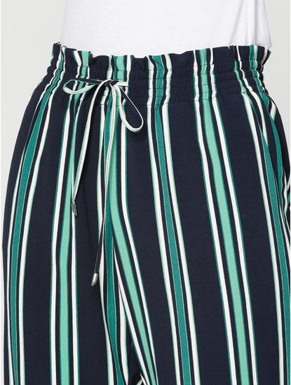 Navy Blue Colour Blocked Striped Low Waist Drawstring Pants