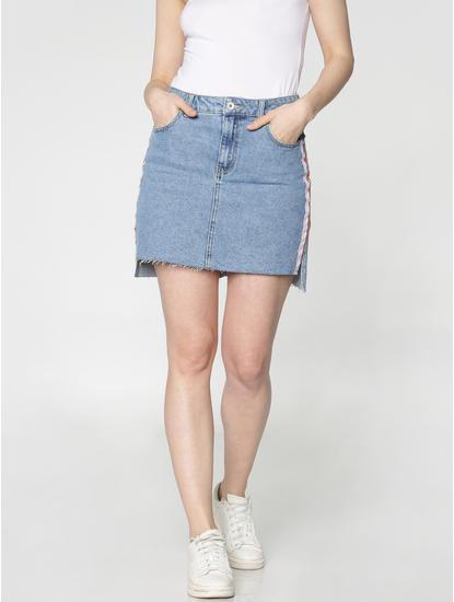 Blue Mid Rise Side Tape Detail High Low Hem Pencil Denim Skirt