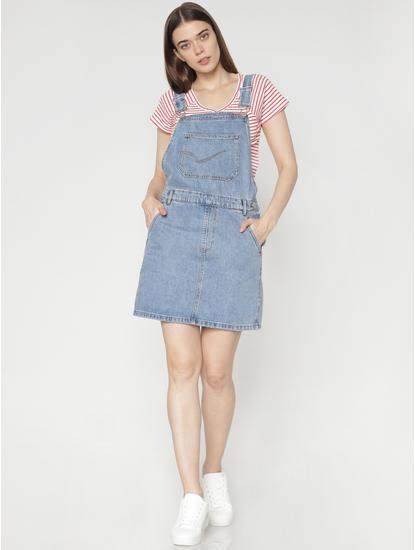 Blue Denim Mini Dungaree Dress