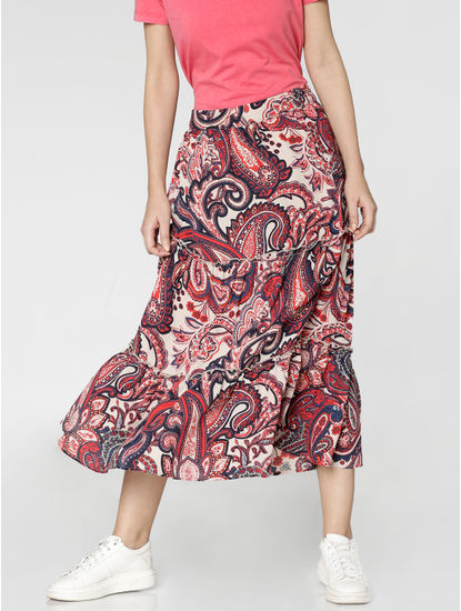 White Mid Rise All Over Paisley Print Flared Midi Skirt