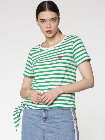 White and Green Striped Side Knot T-shirt