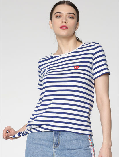 White and Blue Striped Side Knot T-shirt