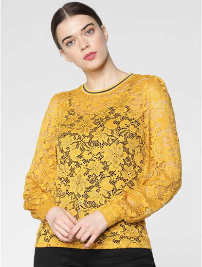 Yellow Floral Lace Cuff Sleeves Top