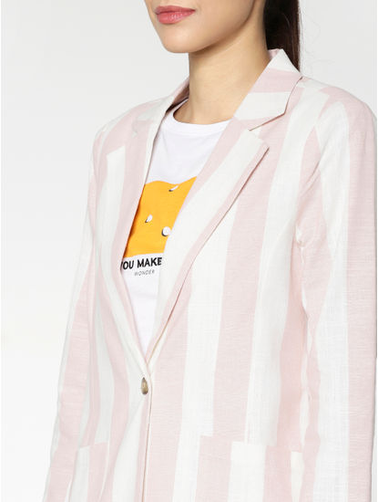 White and Pink Striped Blazer