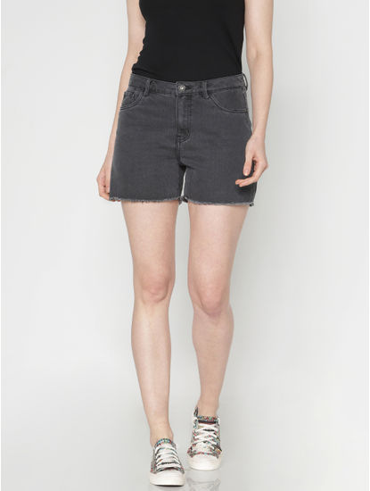 Black Low Rise Raw Edge Denim Shorts