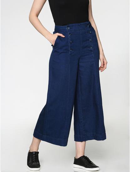 Blue Low Rise Wide Leg Ankle Length Comfort Fit Jeans
