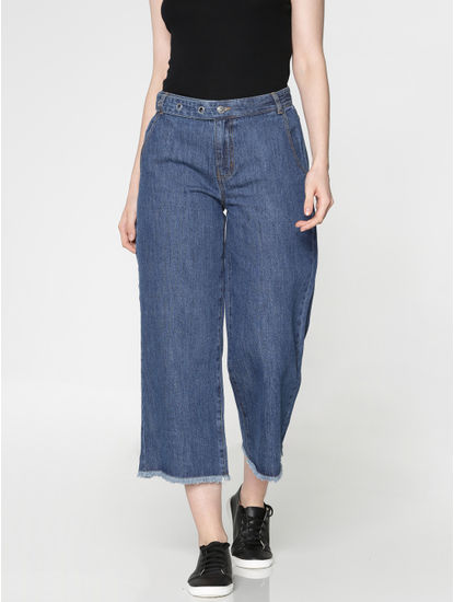 Blue Low Rise Frayed Hem Wide Leg Comfort Fit Jeans