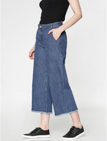 Blue Low Rise Frayed Hem Wide Leg Comfort Fit Jeans