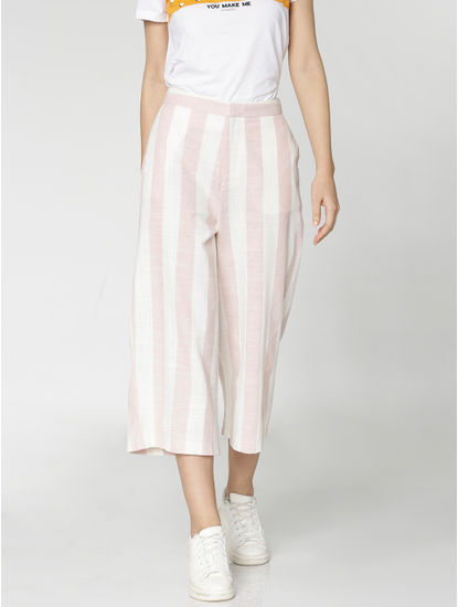 White and Pink Mid Rise Striped Cropped Slim Fit Pants