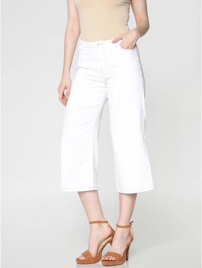 White Mid Rise Wide Leg Comfort Fit Jeans