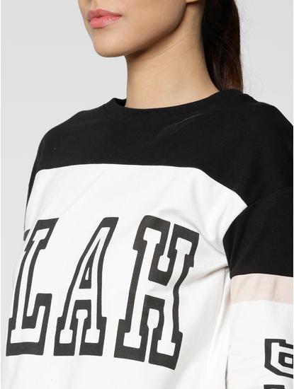 White Colour Blocked Text Print Sweatshirt