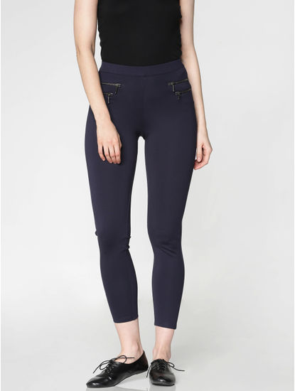 Navy Blue High Rise Zip Detail Ankle Length Skinny Fit Leggings