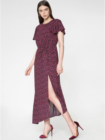 Blue Multicoloured Heart Print Side Slit Asymmetric Midi Dress
