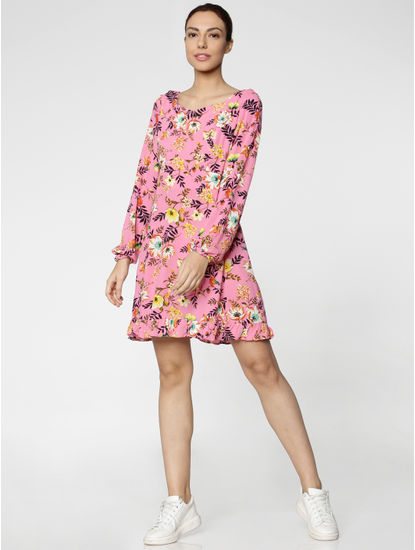 Pink All Over Floral Print Ruffled Hem Fit & Flare Dress
