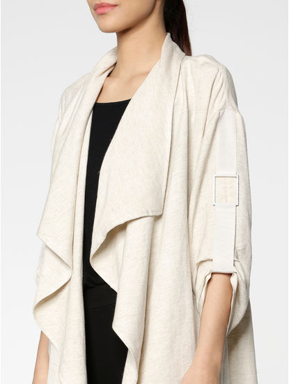 Cream Ruffle Front Open Loose Fit Shrug