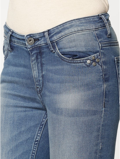 Blue Mid Rise Side Button Detail Ankle Length Skinny Fit Jeans