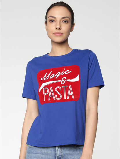 Blue Text Print T-shirt