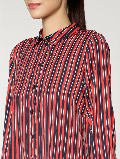 Navy Blue Colour Blocked Striped Shirt