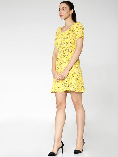 Yellow Printed Skater Dress
