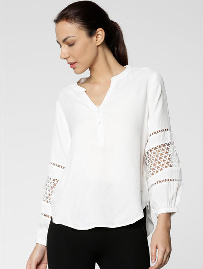 White Cut Work Embroidered Sleeves Top