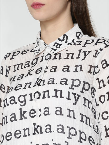 White All Over Alphabet Print Shirt