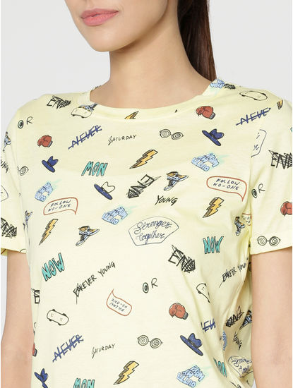 Yellow Text And Graphic Print T-Shirt
