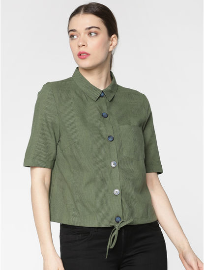 Green Striped Front Tie Shirt