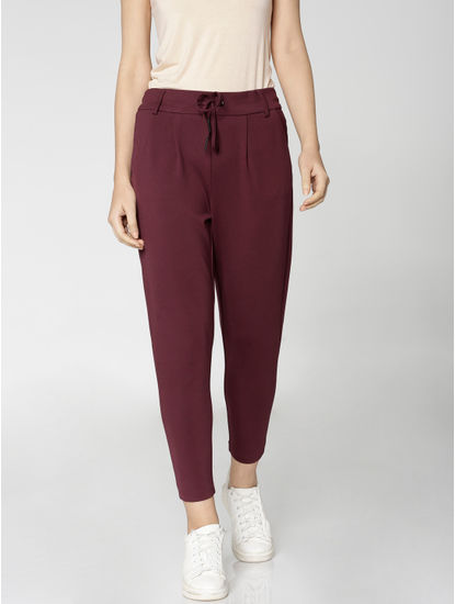 Burgundy Mid Rise Drawstring Ankle Length Slim Fit Pants