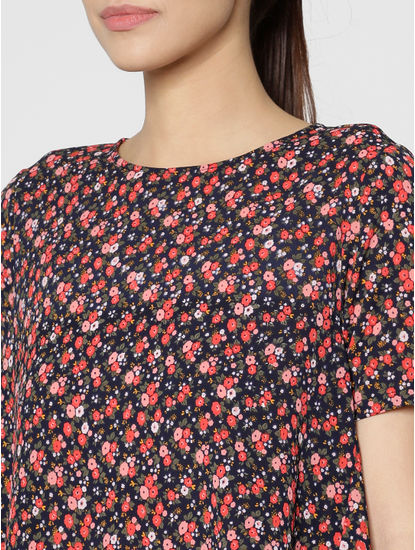 Navy Blue All Over Floral Print Flared Top