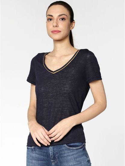 Navy Blue Contrast Collar Tipping T-Shirt