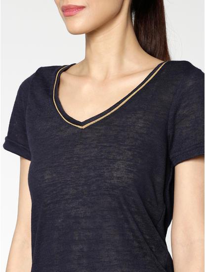 Navy Blue Contrast Collar Tipping T-Shirt