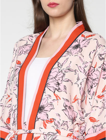 Beige Kimono Style Pink Floral Print Contrasting Sleeve Stripe Detail Front Open Shrug