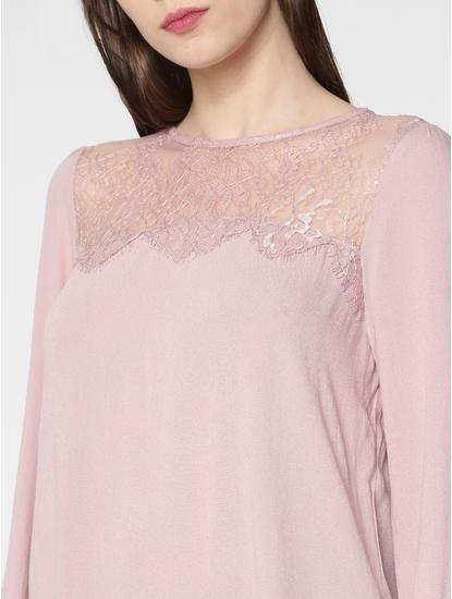 Pink Sheer Lace And Back Drawstring Detail Top