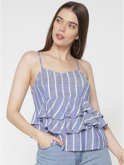 Blue Striped Layered Noodle Straps Peplum Top