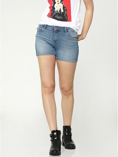 Light Blue Low Rise Raw Slim Fit Denim Shorts