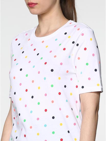 White All Over Colourful Polka Dot Print T-Shirt