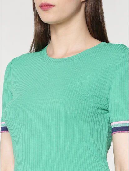 Green Multicoloured Ribbed Sleeves T-Shirt
