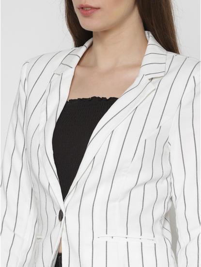 White Striped Blazer