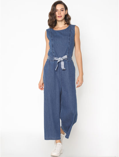 Blue Wide Leg Denim Jumpsuit