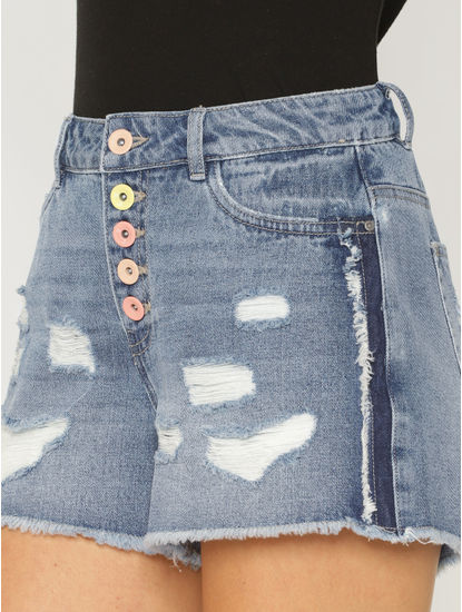 Blue Mid Rise Ripped Denim Shorts