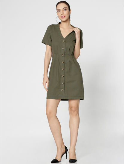 Green Mini Shirt Dress