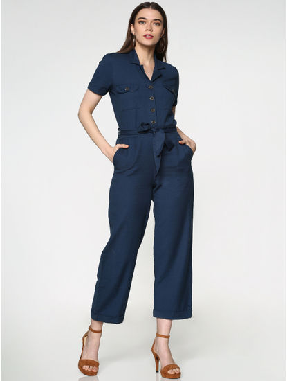 Blue Belted Ankle Length Jumpsuit